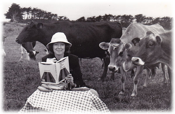 Marsha Sinetar with cows